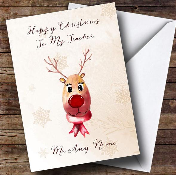 Cute Reindeer Teacher Personalised Christmas Card