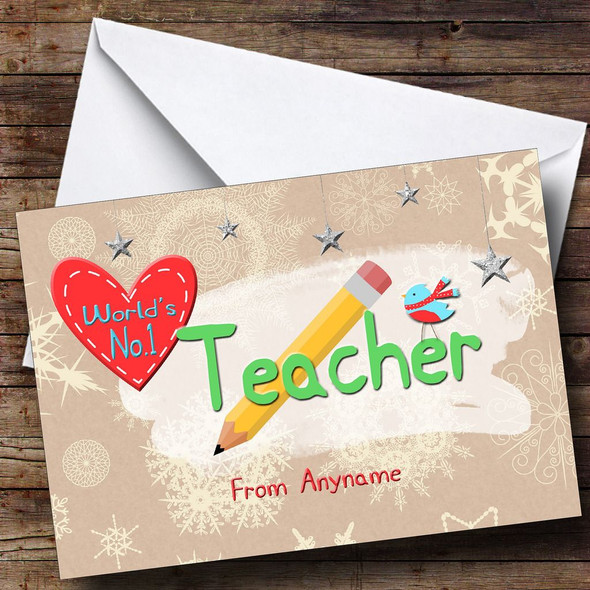 Worlds Number 1 Teacher Personalised Christmas Card