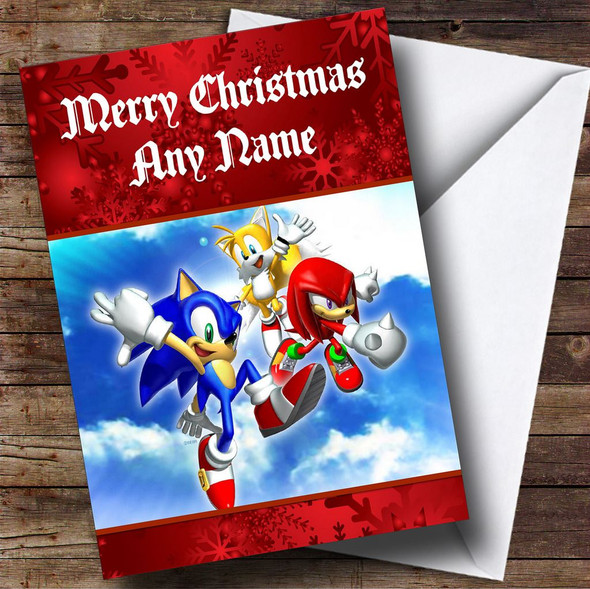 Sonic The Hedgehog Red Personalised Christmas Card