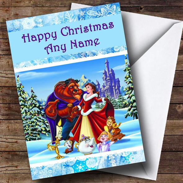 Beauty Beast Christmas Card Personalised