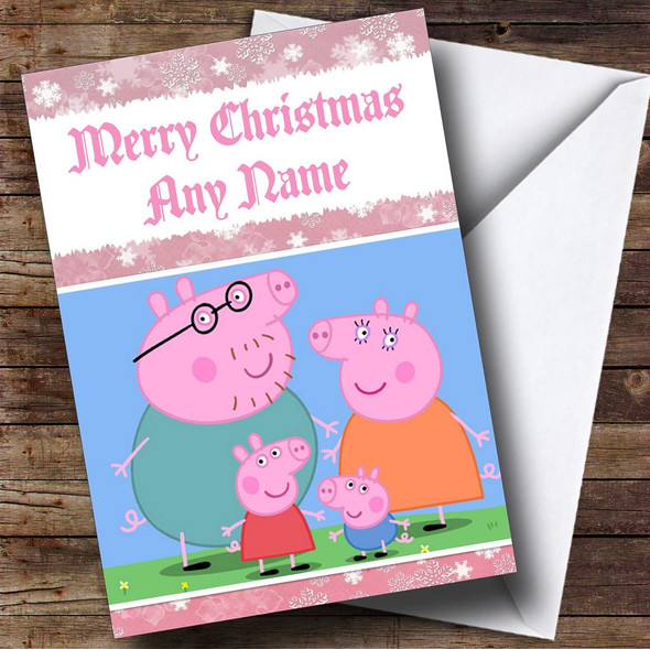 Peppa Pig Pink Personalised Christmas Card