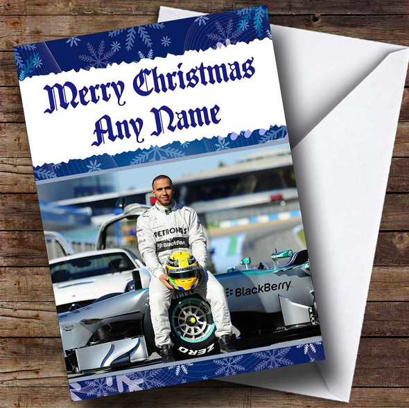 Lewis Hamilton Formula  Personalised  Christmas Card