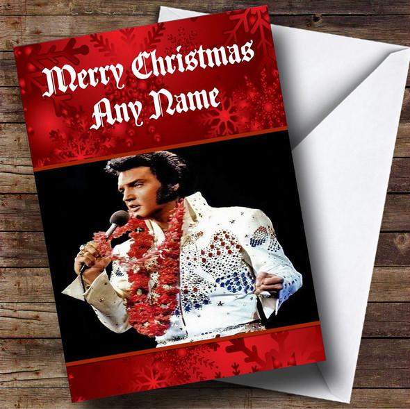 Red Elvis Presley Personalised Christmas Card