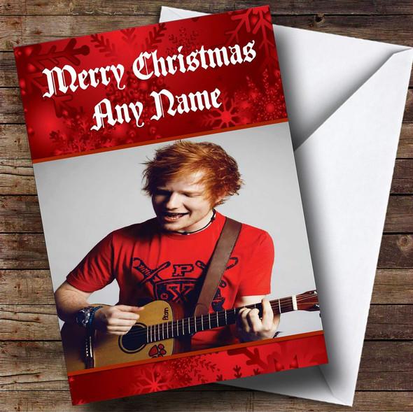 Ed Sheeran With Guitar Personalised Christmas Card