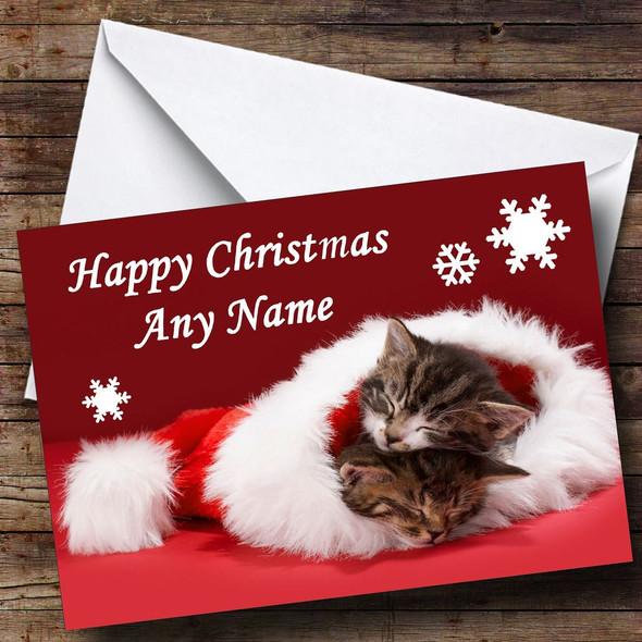Two Kittens Sleeping In Hat Christmas Card Personalised