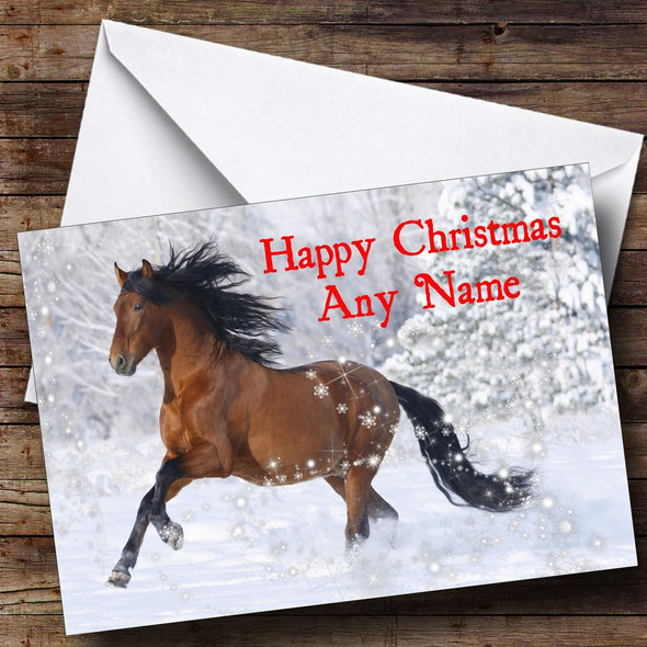 Lovely Horse Christmas Card Personalised