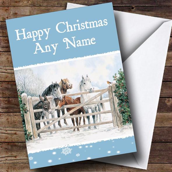 Horses Christmas Card Personalised