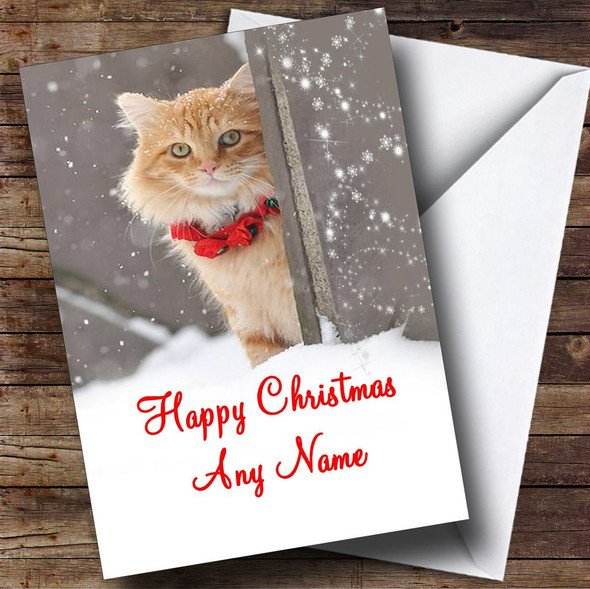 Ginger Cat Christmas Card Personalised
