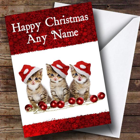 3 Beautiful Kittens Christmas Card Personalised