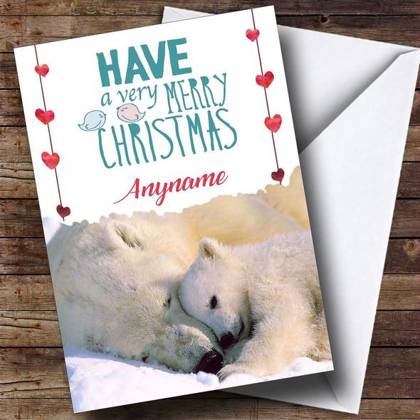Cuddling Polar Bears Personalised Christmas Card