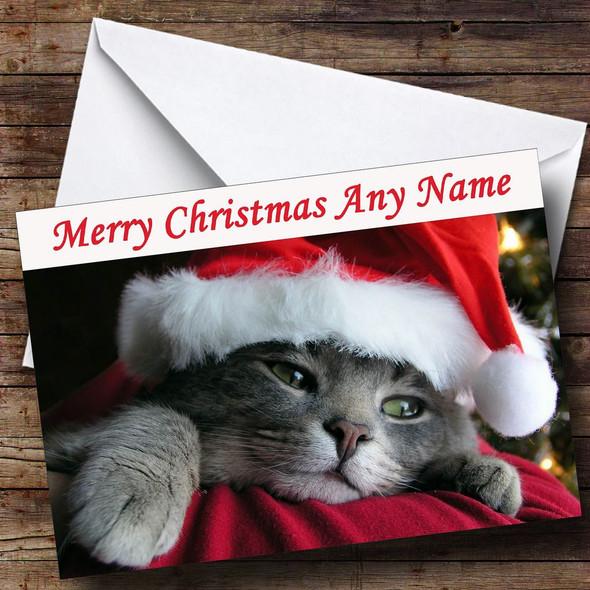 Cute Cat Wearing Xmas Hat Personalised Christmas Card