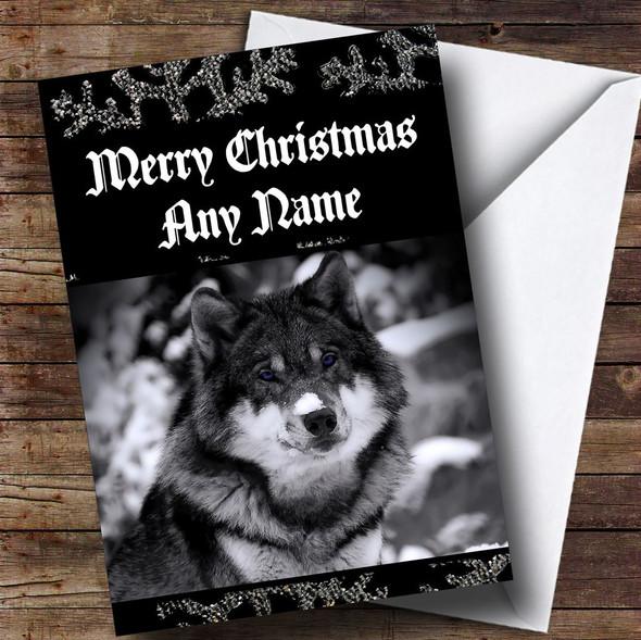 Beautiful Wolf Personalised Christmas Card