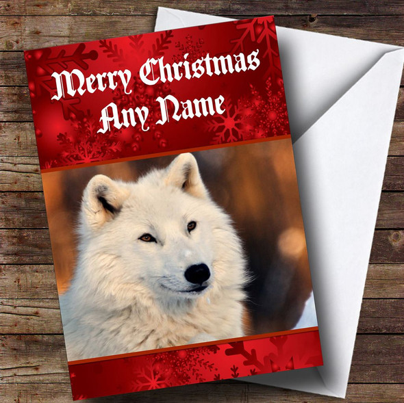 White Wolf Personalised Christmas Card