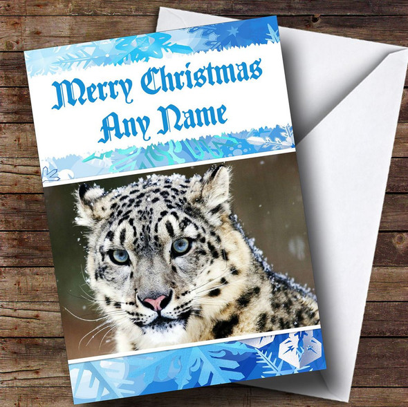 Snow Leopard Personalised Christmas Card