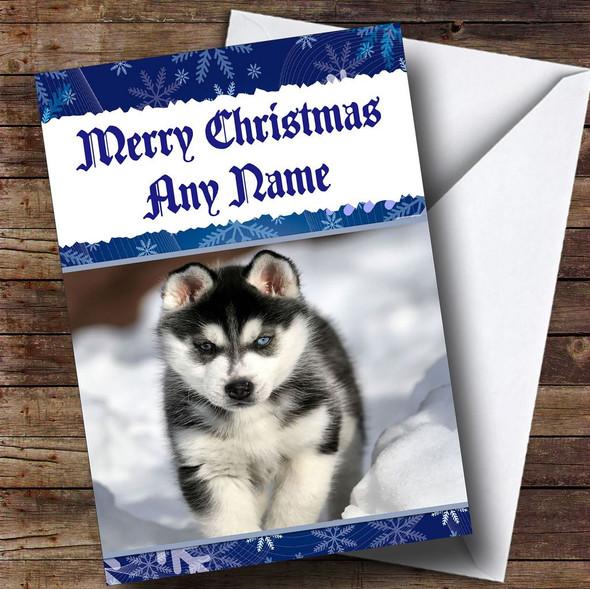 Siberian Husky Personalised Christmas Card