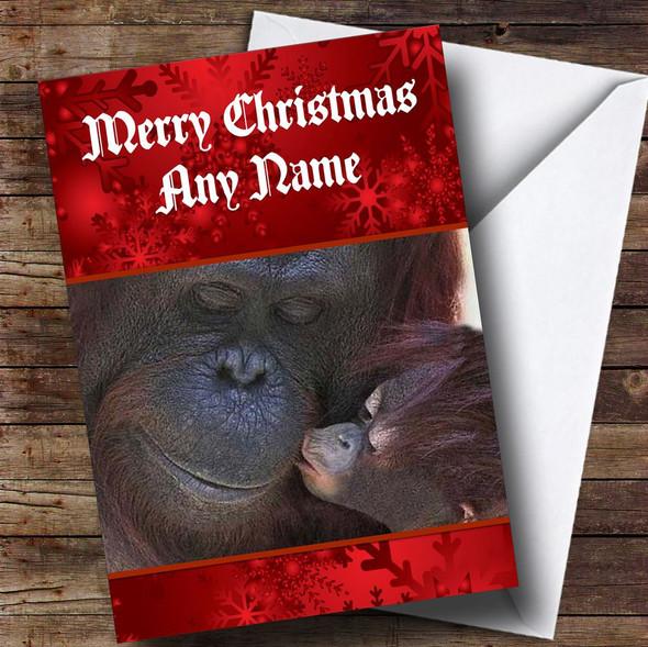 Orangutan Personalised Christmas Card