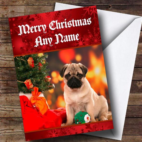 Christmas Pug Personalised Christmas Card