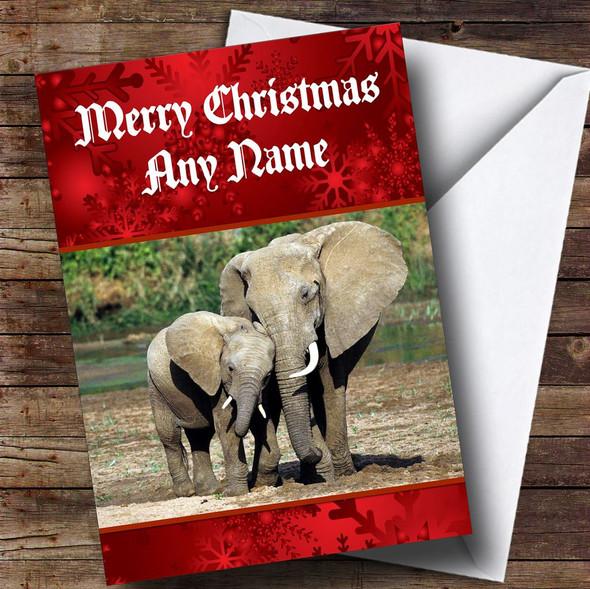 Elephant Personalised Christmas Card
