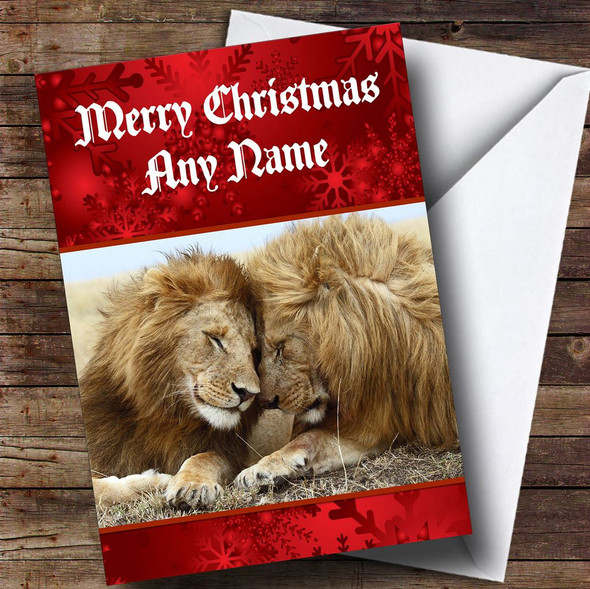 Lion Personalised Christmas Card