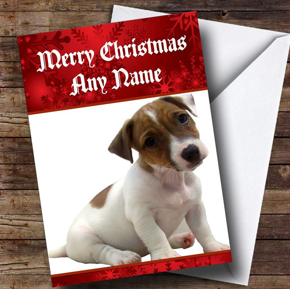 Jack Russell Puppy Personalised Christmas Card