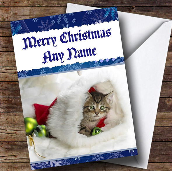 Adorable Kitten In A Christmas Hat Personalised Christmas Card
