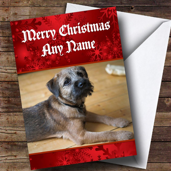 Border Terrier Dog Personalised Christmas Card