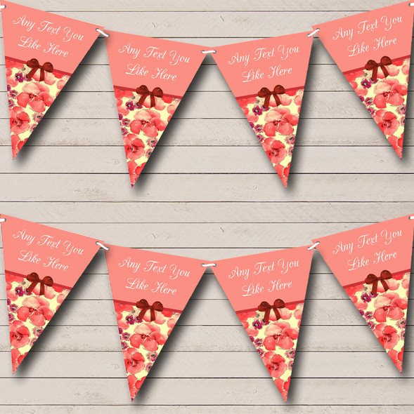 Yellow Coral Floral Personalised Wedding Anniversary Party Bunting
