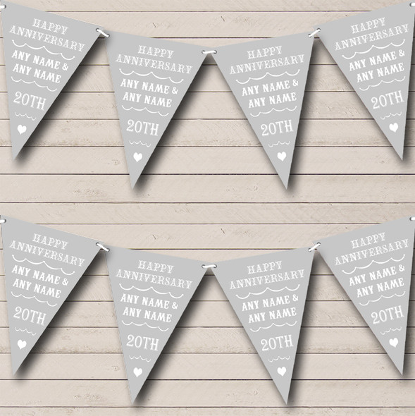 Vintage Text Any Year Silver Grey Personalised Wedding Anniversary Party Bunting