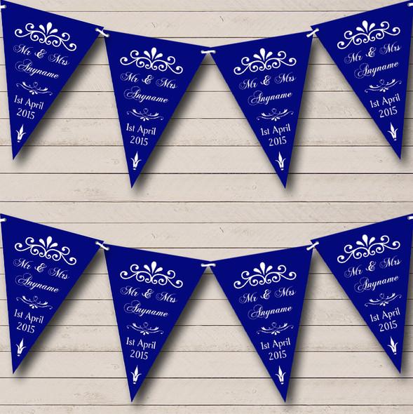 Vintage Regal Navy Blue Personalised Wedding Anniversary Party Bunting