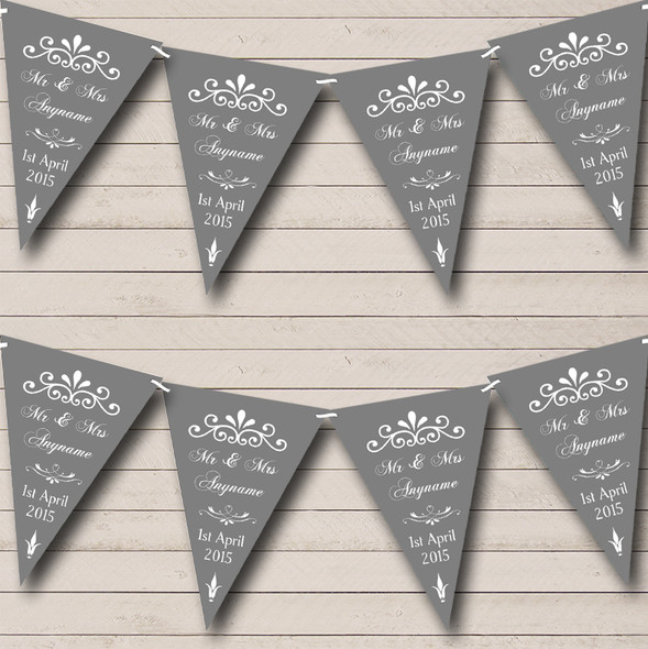 Vintage Regal Grey Personalised Wedding Anniversary Party Bunting