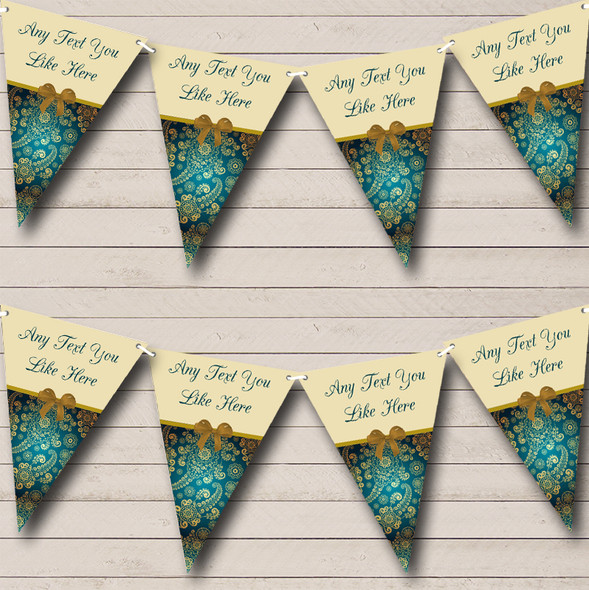 Turquoise Teal Shabby Chic Personalised Wedding Anniversary Party Bunting