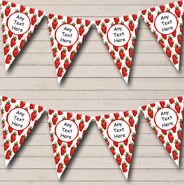 Strawberry Personalised Wedding Anniversary Party Bunting