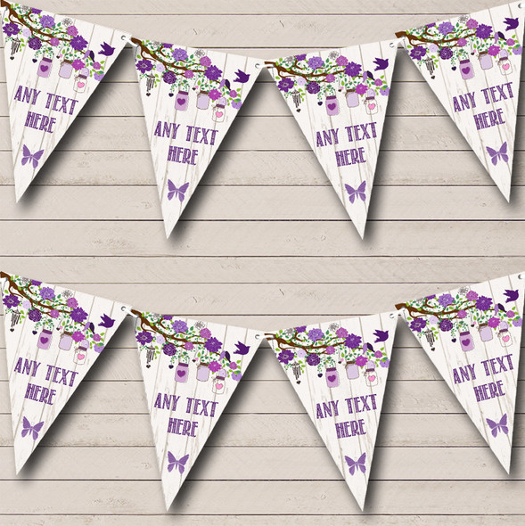Shabby Chic Vintage Wood Purple Personalised Anniversary Party Bunting