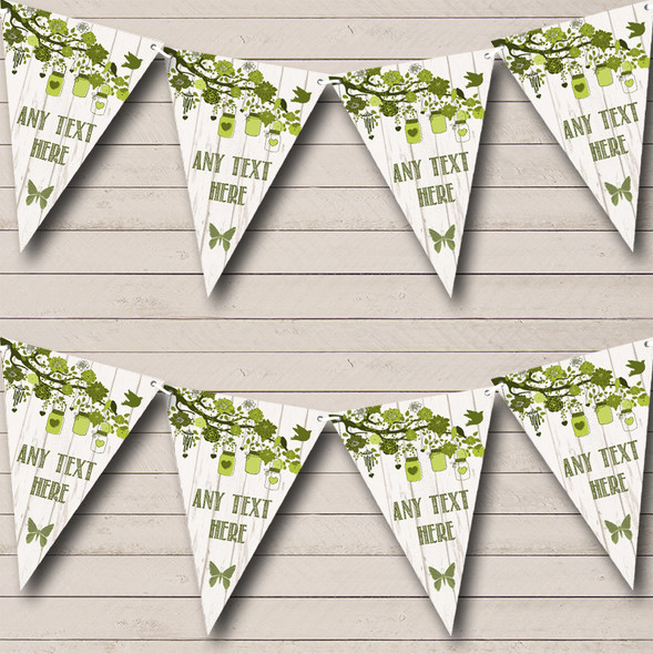 Shabby Chic Vintage Wood Olive Green Personalised Anniversary Party Bunting