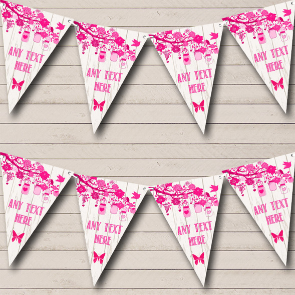 Shabby Chic Vintage Wood Hot Pink Personalised Anniversary Party Bunting