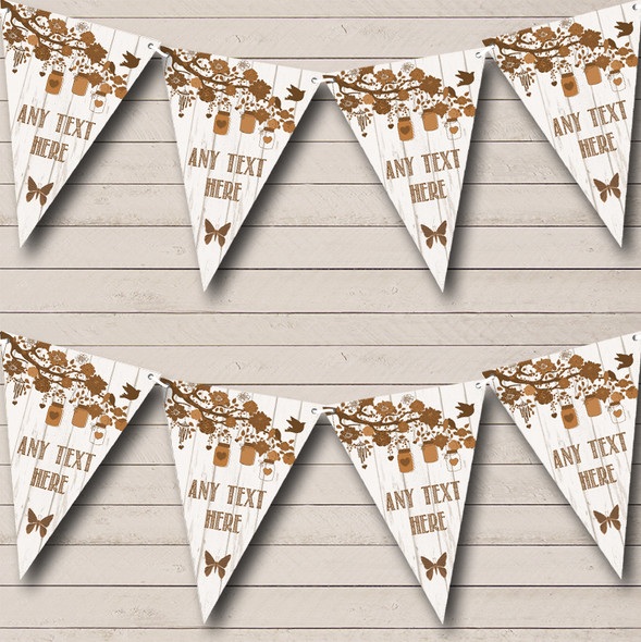 Shabby Chic Vintage Wood Brown Personalised Anniversary Party Bunting