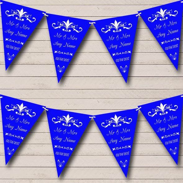 Regal Or Royal Blue Personalised Wedding Anniversary Party Bunting