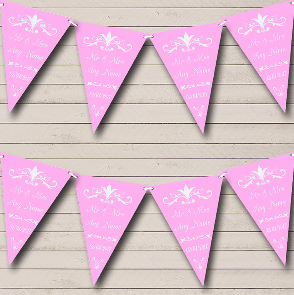 Regal Or Pink Personalised Wedding Anniversary Party Bunting