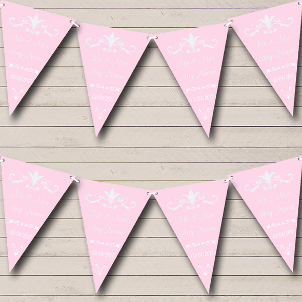 Regal Or Pale Pink Personalised Wedding Anniversary Party Bunting