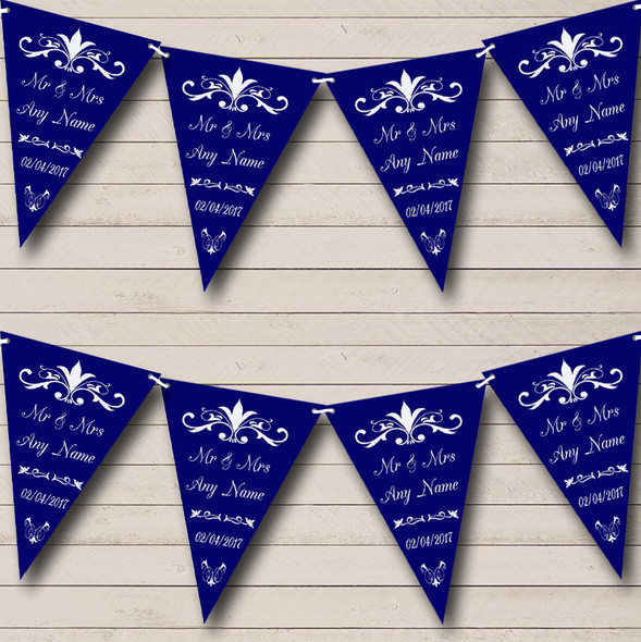 Regal Or Navy Blue Personalised Wedding Anniversary Party Bunting