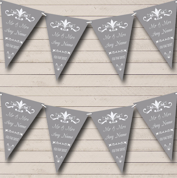 Regal Or Grey Personalised Wedding Anniversary Party Bunting