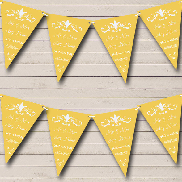 Regal Or Gold Yellow Personalised Wedding Anniversary Party Bunting