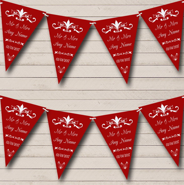 Regal Or Cranberry Personalised Wedding Anniversary Party Bunting
