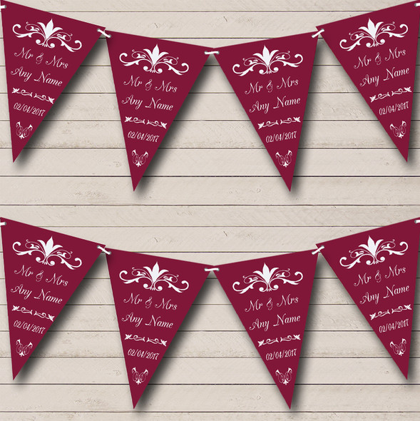 Regal Or Claret Personalised Wedding Anniversary Party Bunting