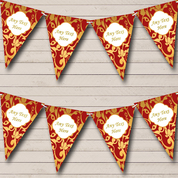 Regal Deep Red And Gold Damask Personalised Wedding Anniversary Party Bunting