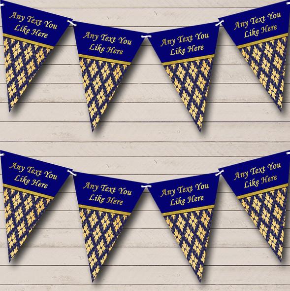 Pretty Navy Blue And Gold Vintage Personalised Wedding Anniversary Party Bunting