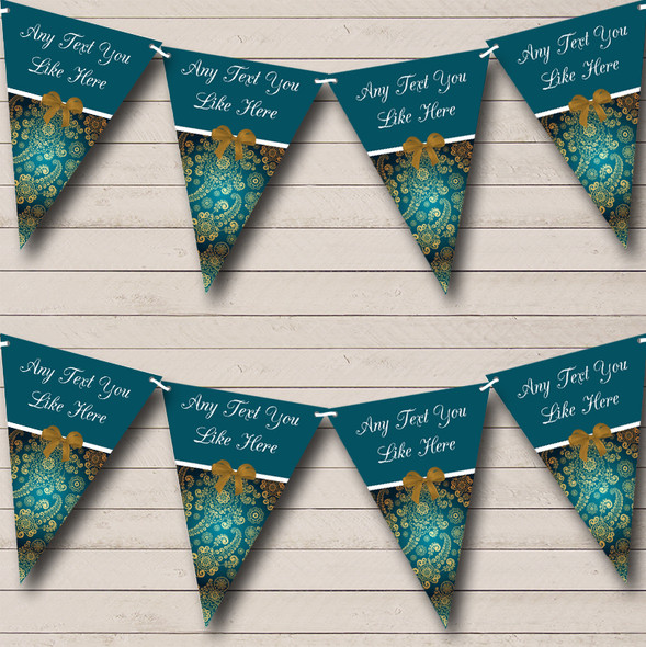Gold And Turquoise Teal Personalised Wedding Anniversary Party Bunting