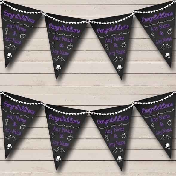Chalkboard Congratulations Black White & Purple Anniversary Party Bunting