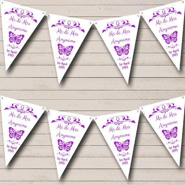Butterfly  Purple Personalised Wedding Anniversary Party Bunting