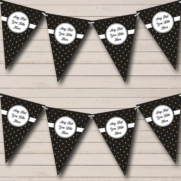 Black And Gold Polkadot Personalised Wedding Anniversary Party Bunting
